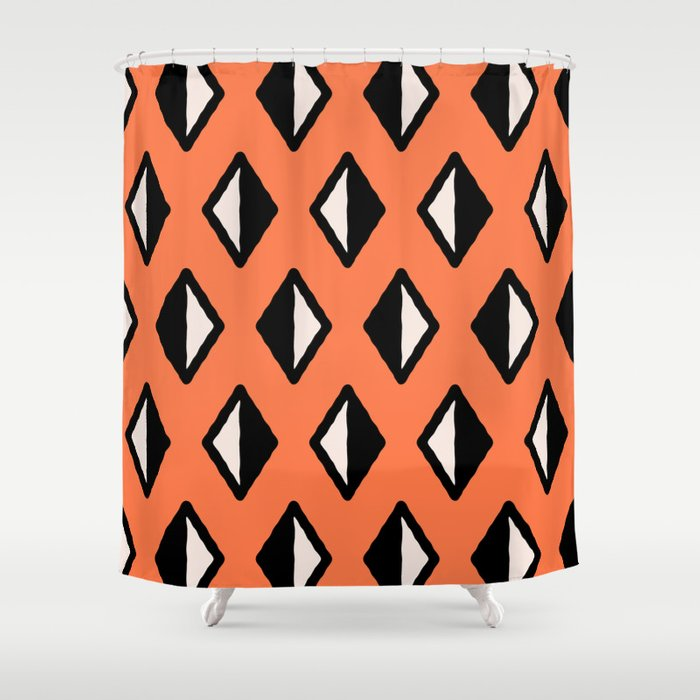 Diamond Pattern Orange Shower Curtain By Tonymagner