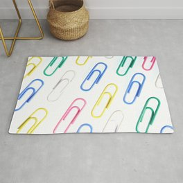 Many Colored Isolated Paper Clips Pattern Rug