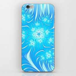Abstract Christmas aqua blue white pattern. Frozen flowers iPhone Skin