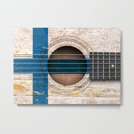 Old Vintage Acoustic Guitar with Finnish Flag Metal Print