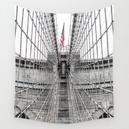 The Brooklyn Bridge and American Flag Wall Tapestry