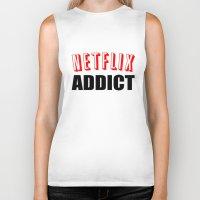 netflix Biker Tanks featuring Netflix Addict by Poppo Inc.