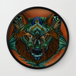 Zentangle Inspired Art-Colored Wolf Wall Clock