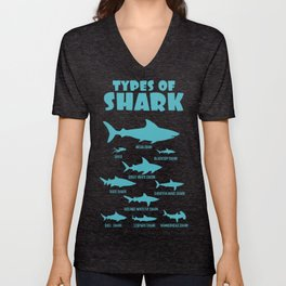 Types Of Shark With Diver Blacktop And Great White Shark Unisex V-Neck