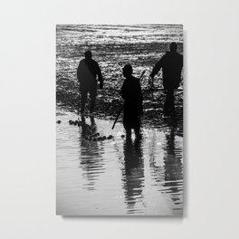 Fishermen silhouette fishing with net in french pond water Metal Print