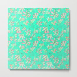 Floral lace Minty green Metal Print