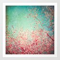 Blue Autumn, Pink leafs on blue, turquoise, green, aqua sky by andreka