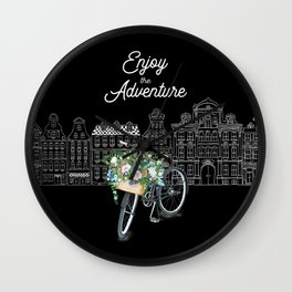 Enjoy the Adventure City and Bicycle on Black Background Wall Clock