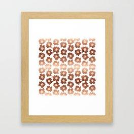 Floral Pop - copper, rose gold retro large flower pattern Framed Art Print