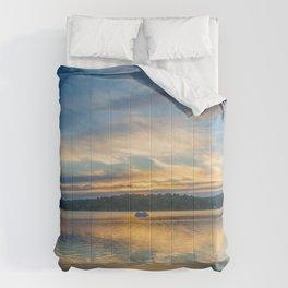 Lake Sunset Boat Cruise Comforters