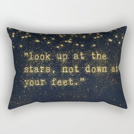 Look up at the stars, not down at your feet - gold glitter effect Typography Rectangular Pillow
