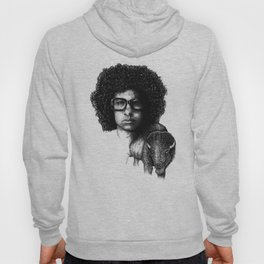 Omar Rodriguez Lopez and his bison Hoody