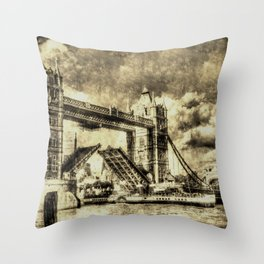Tower Bridge and the Waverley Vintage Throw Pillow