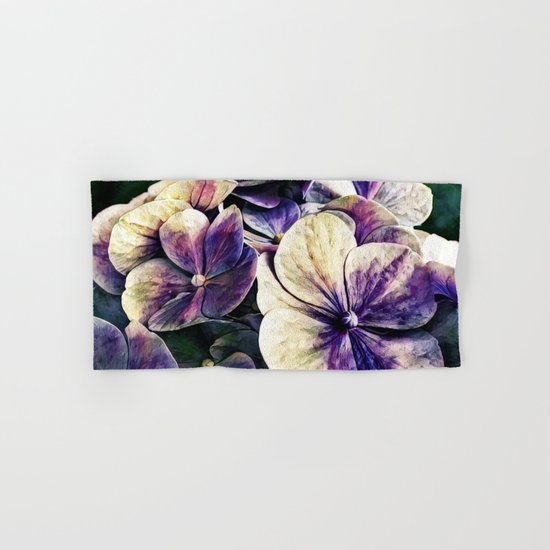 Hortensia flowers in vintage grunge watercoloring style Hand & Bath Towel