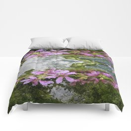 Flowers and reflections in water Comforters