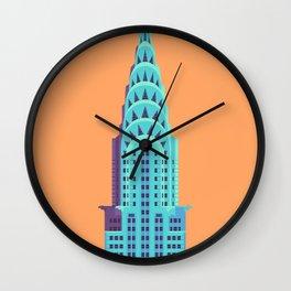 New York Art Deco Building Architecture - Orange Wall Clock