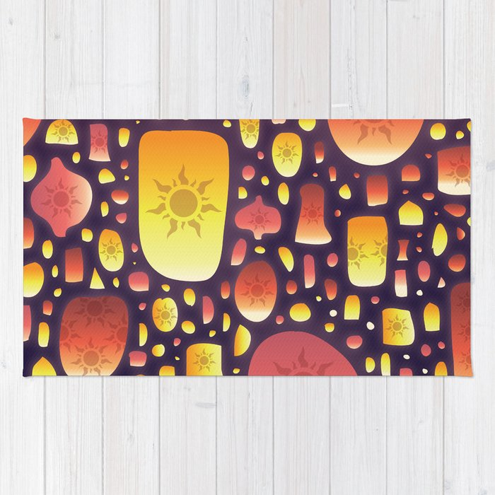 tangled lanterns pattern rug by cinacatteau society6