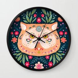 Candied Sugar Skull Kitty Wall Clock