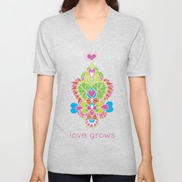 LOVE grows heart tree temple Unisex V-Neck
