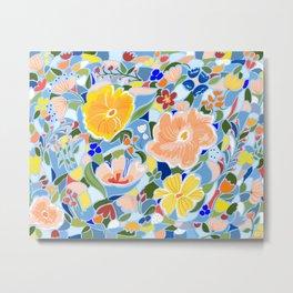 Summery Floral #illustration #pattern Metal Print
