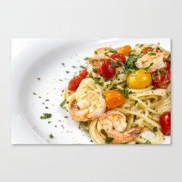 Spaghetti pasta with prawns Canvas Print