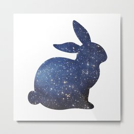 Space Easter Bunny - Bright Stars Metal Print