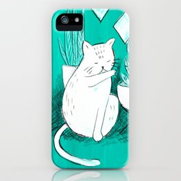 Turquoise Cat iPhone Case