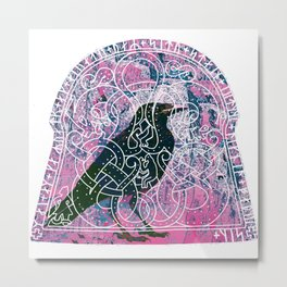 Raven In The Runestone Metal Print
