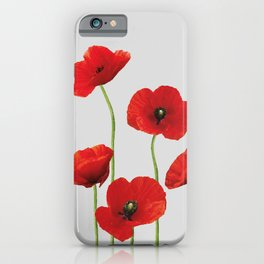 poppies Flowers red grey background iPhone Case