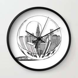 New York in a glass ball . Art . Wall Clock