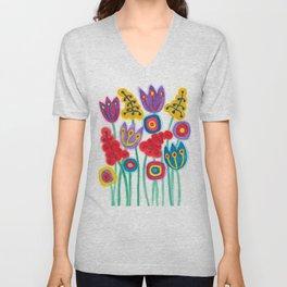 raw flower garden with tulips Unisex V-Neck
