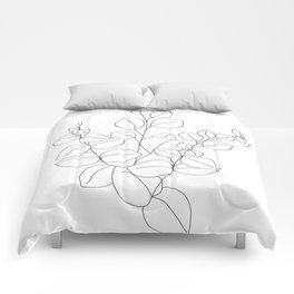 Minimalistic Eucalyptus  Line Art Comforters
