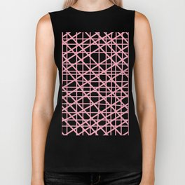 Texture lines pink and white Biker Tank