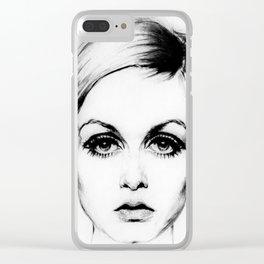 60's Eyelashes Clear iPhone Case
