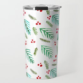 Christmas tree branches and berries - green and red Travel Mug