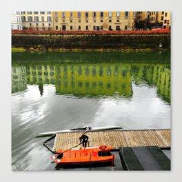 Rowing at River Arno Canvas Print