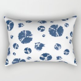 Shibori Polka Splotch Indigo Blue Rectangular Pillow