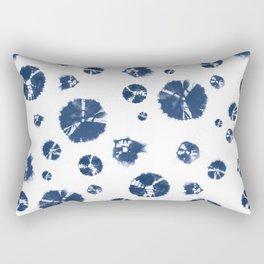 Shibori Polka Splotch Indigo Blue Rectangular Pillow