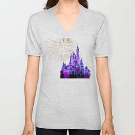 Disney Magic Kingdom Fireworks at Christmas - Cinderella Castle Unisex V-Neck