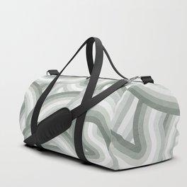 Elegant Gray Green Stripes Duffle Bag