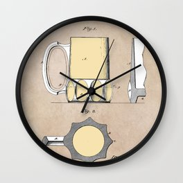 patent Beer Mugs Wall Clock
