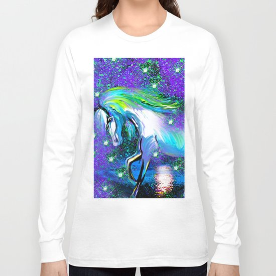 HORSE DANCING IN STAR LIGHT AND MOON DUST Long Sleeve T-shirt