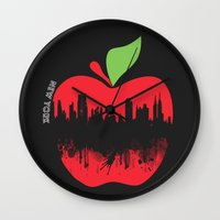 new york Wall Clocks featuring NEW YORK, NEW YORK by mark ashkenazi