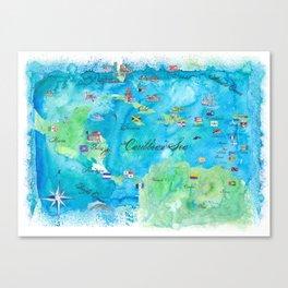 Caribbean Cruise Travel Poster Map Antilles West Indies Cuba Florida Canvas Print