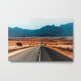 Teal Mountains Highway Metal Print