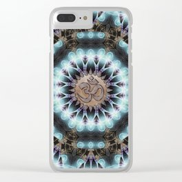 Om Shanti Fractal Geometry [ earthy aqua remix ] Clear iPhone Case