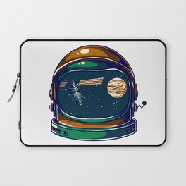 Astronaut Helmet - Satellite and the Moon Laptop Sleeve