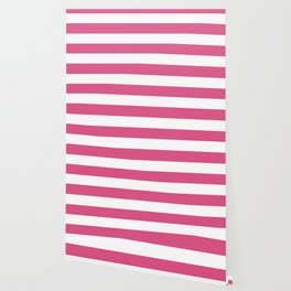 Fandango pink - solid color - white stripes pattern Wallpaper
