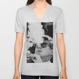 John F Kennedy Cigar and Sunglasses Black And White Unisex V-Neck