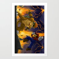 Mario vs Bowser Art Print